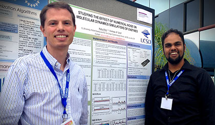 SDSC Researcher Andreas Goetz (l) with Rahul Nori, of the University of North Dakota, at a project poster session at the National Science Foundation's eXtreme Science and Engineering Discovery Environment (XSEDE) 2013 annual conference.