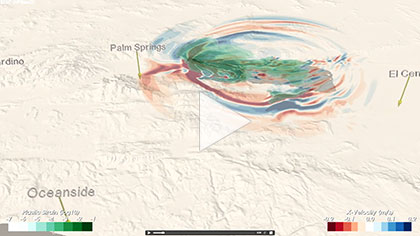 Animation of the wave propagation during a simulated Magnitude 7.8 earthquake rupturing the San Andreas Fault from northeast to southwest. Red/blue colors reflect the intensity of shaking; green indicates areas of permanent ground deformation. The three colored vertical
